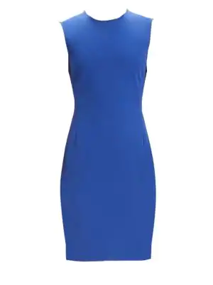 5ff5c0898e Theory Crewneck Sleeveless Fitted Double Stretch Dress In Navy Sapphire