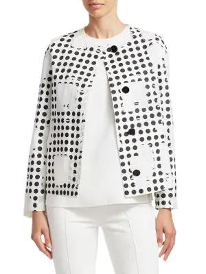 Akris Punto Window Dot Collarless Jacket In Crema Nero