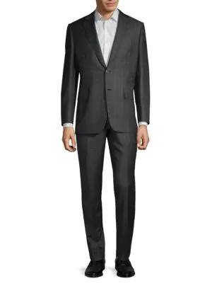 Brioni Virgin Wool Windowpane Suit In Grey