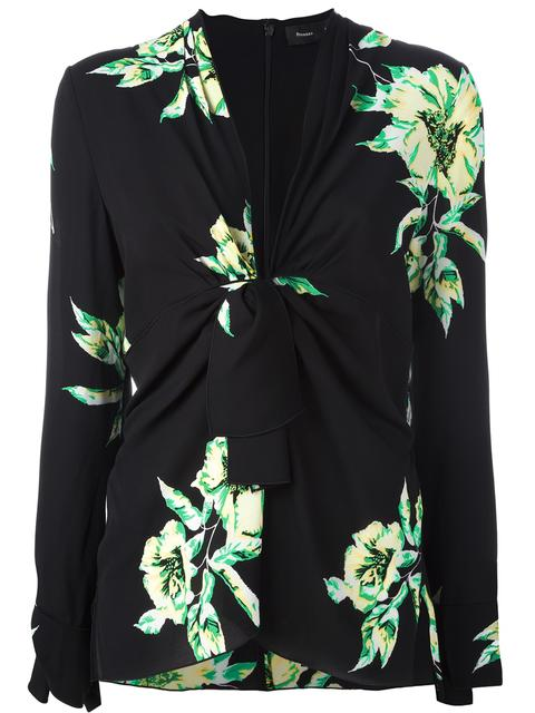 Proenza Schouler Knotted Floral-print Silk-crepe Blouse In Black