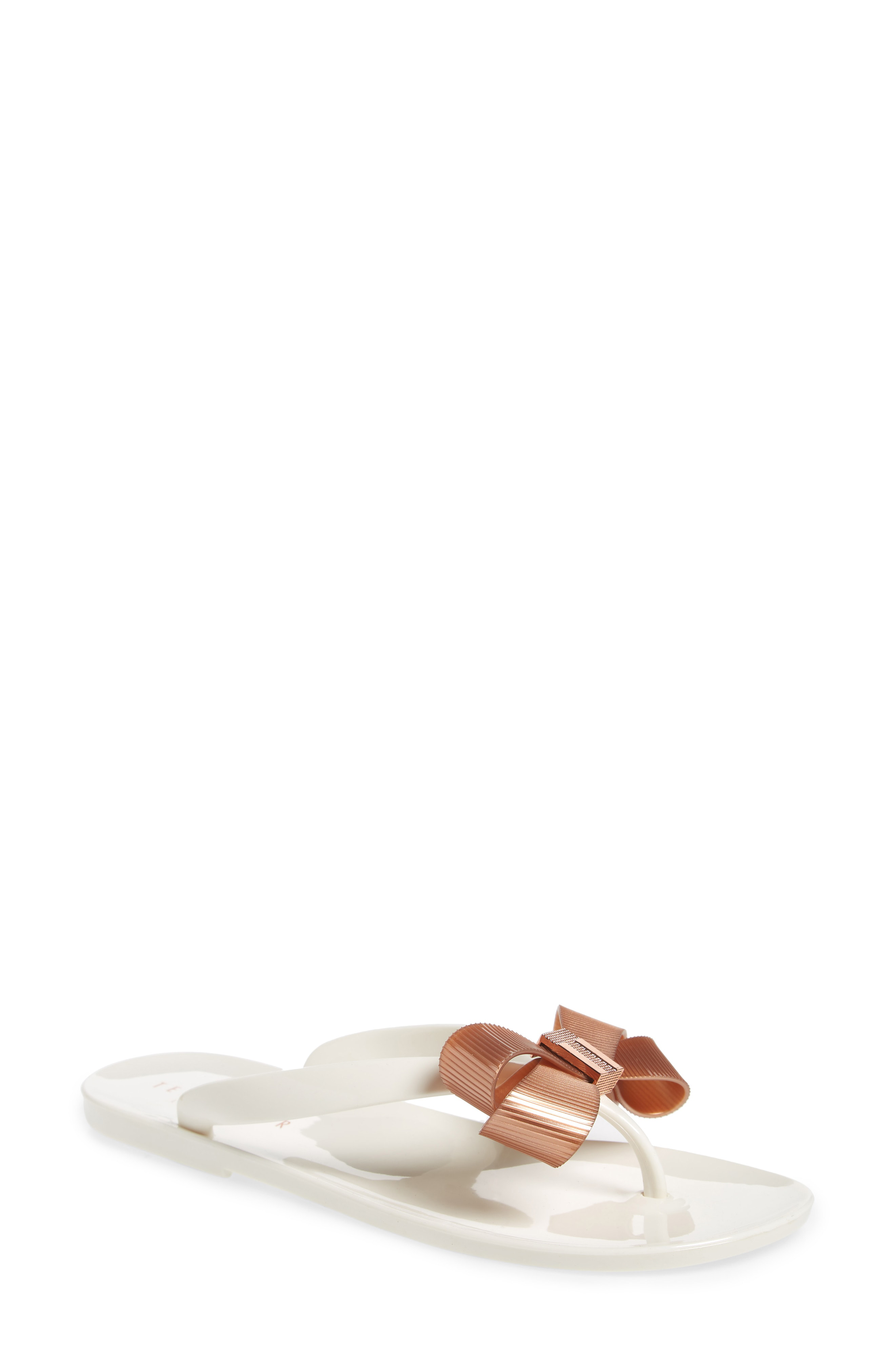 32436f2c3d7f34 A textured bow sits at the toe of this chic flip-flop perfect for lunch  with friends or walking along the boardwalk. Style Name  Ted Baker London  Suszie ...