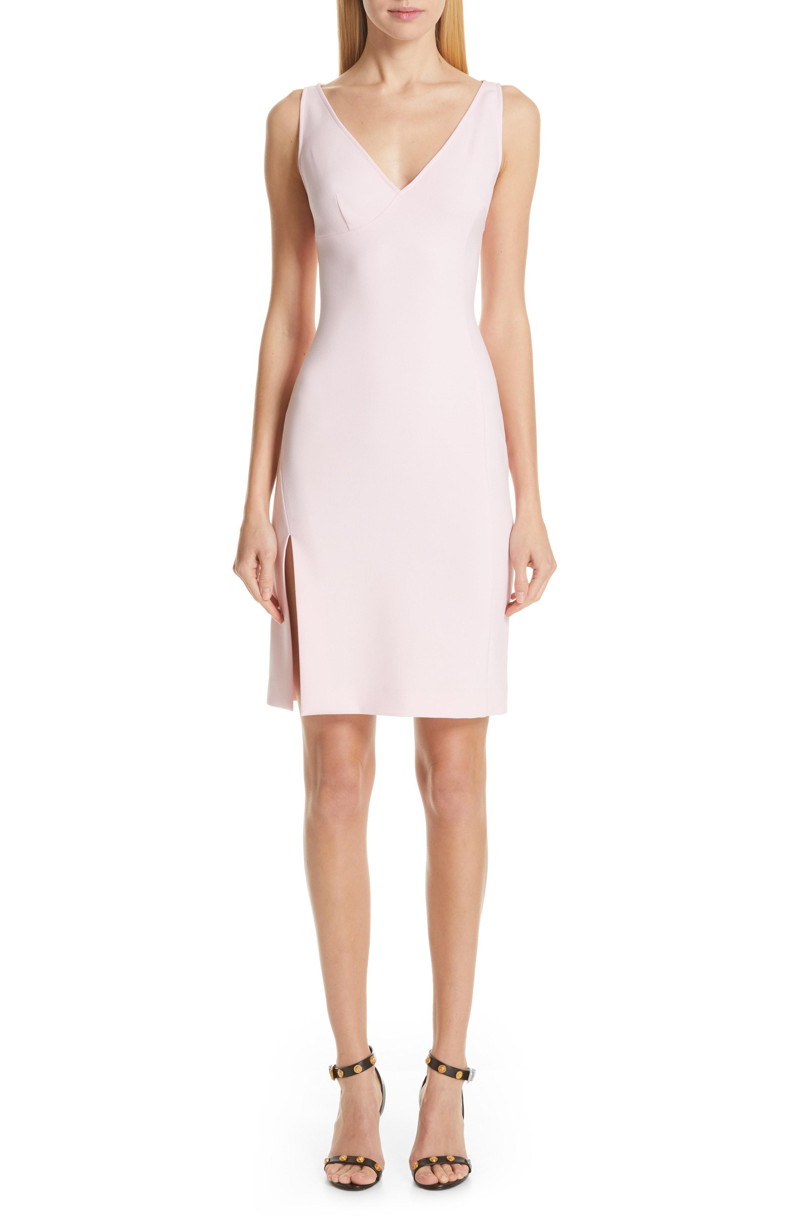 Versace Stretch Cady Sheath Dress In Pastel Rose