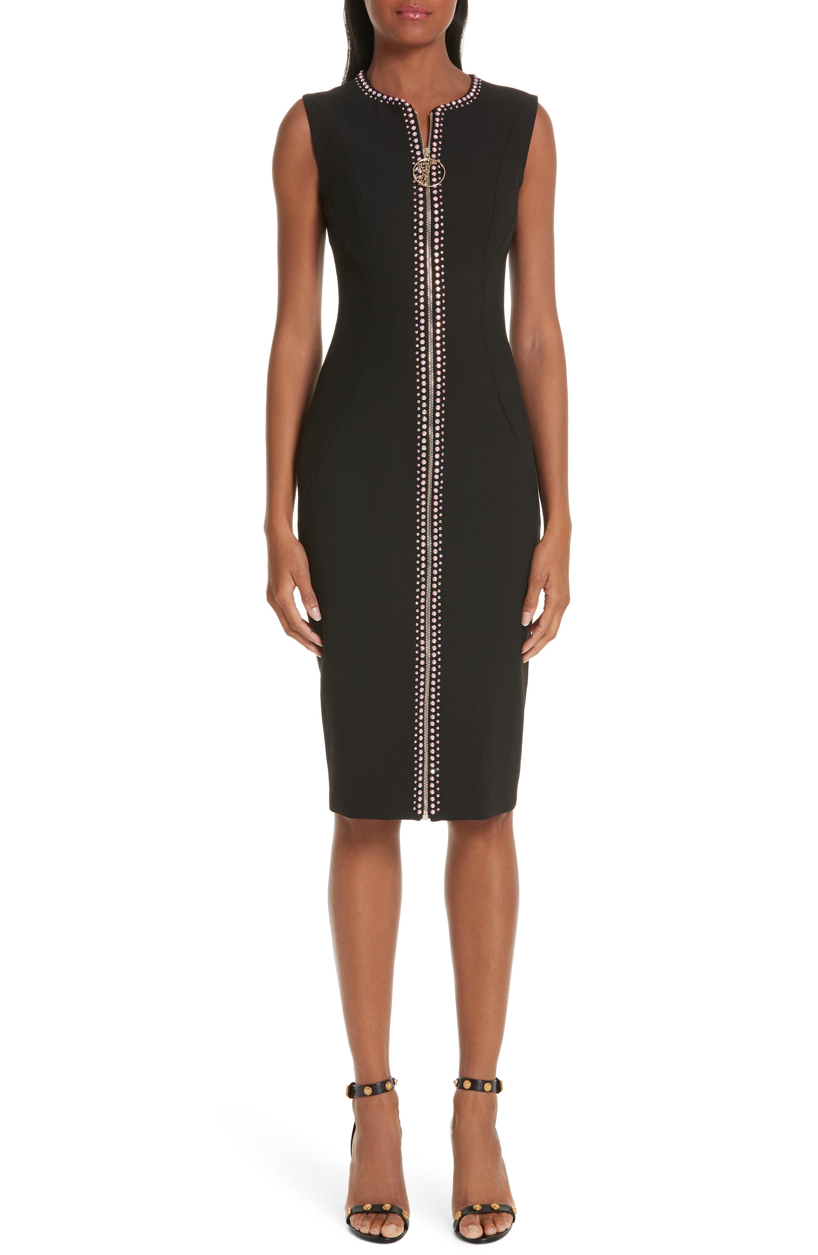 Versace Crystal Embellished Zip Front Dress In Black