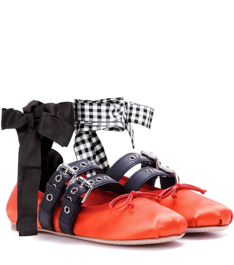 Miu Miu Buckle-embellished Satin Ballerinas In Lacca