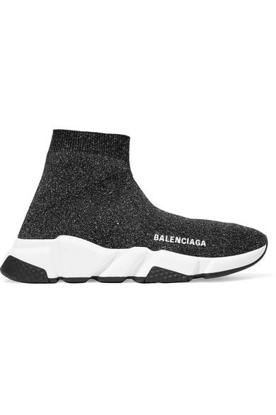 Balenciaga Speed Logo-Print Metallic Stretch-Knit High-Top Sneakers In Black