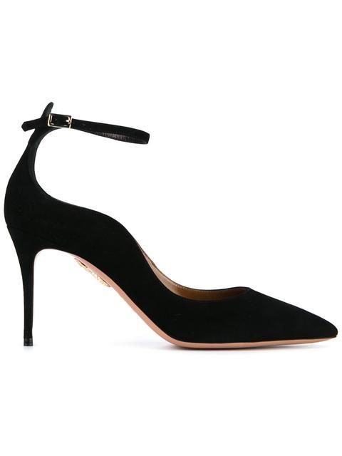 Aquazzura Dolce Vita Suede 85mm Ankle-strap Pumps, Black