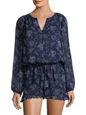 Joie Cherita Floral-print Silk Romper In Dark Navy