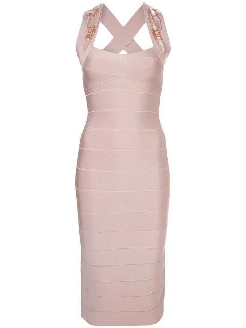 Herve Leger Beaded AppliquÉ Midi Dress In Pink