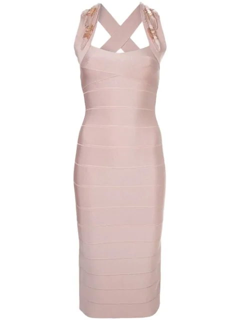Herve Leger Beaded Appliqué Midi Dress In Pink