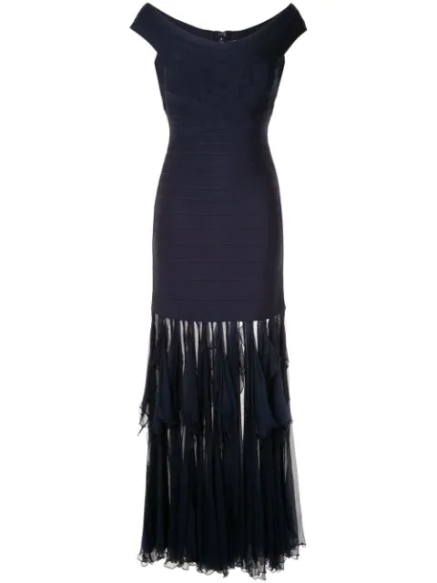 Herve Leger Draped Hem Dress In Blue