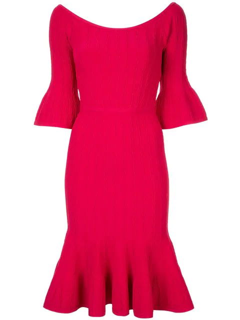 Herve Leger Off The Shoulder Braided Dress In Red