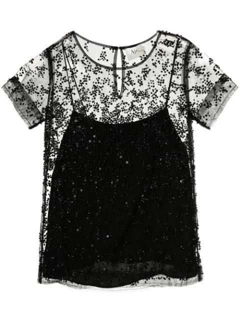 Aje Embellished Layered Blouse - Black