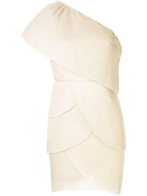 Aje One-Shoulder-Kleid Mit Falten - Nude In Neutrals