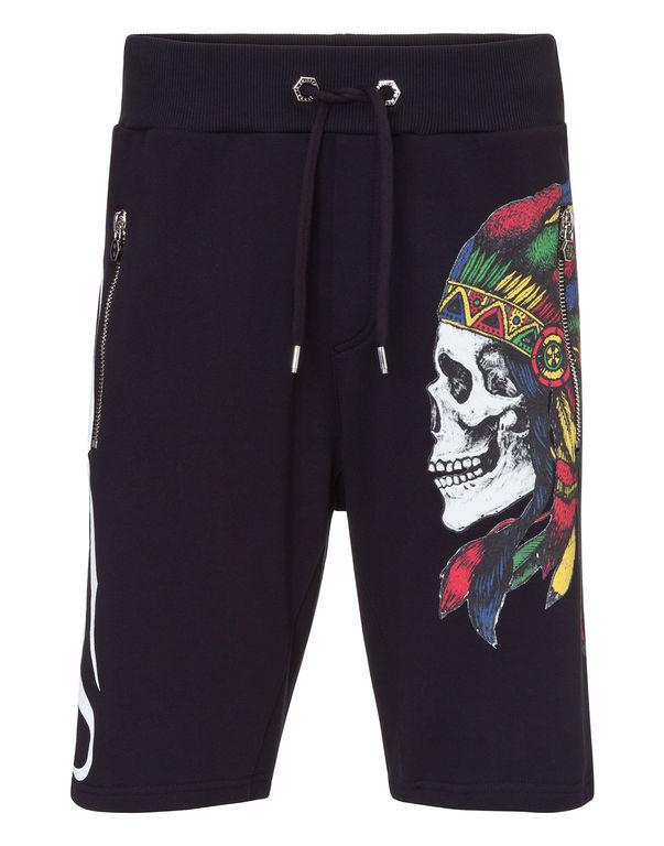 Philipp Plein Side Skull Print Shorts In Black