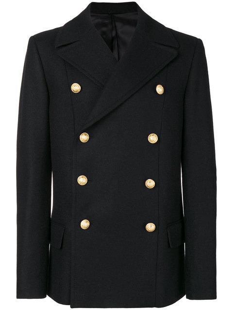 Balmain Double Breasted Wool Cloth Coat In Black