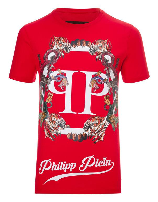 """Philipp Plein T-shirt Round Neck Ss """"plein´s Animals"""" In Grey Melange"""