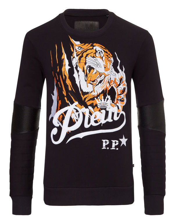 Philipp Plein Blood Tiger Cotton Sweatshirt In Black