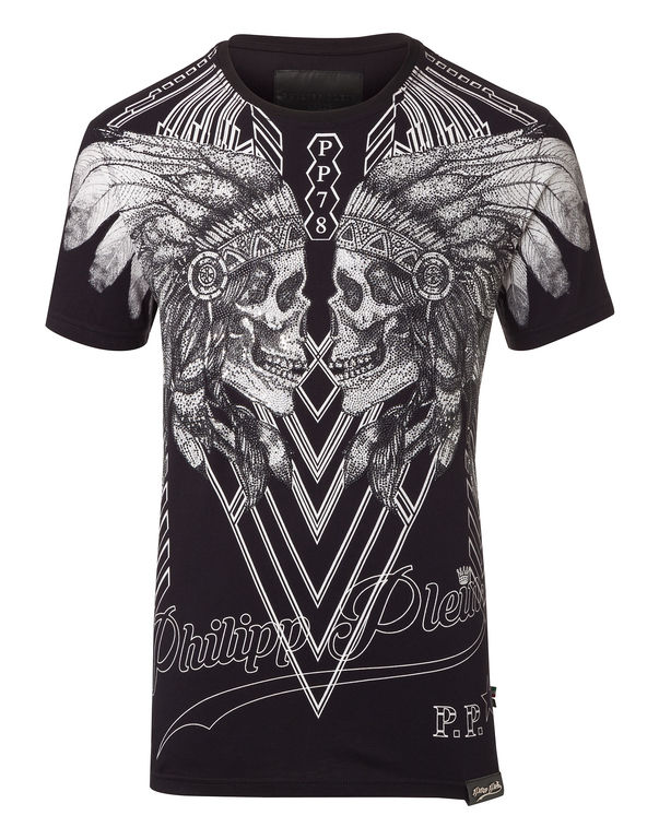 Philipp Plein Dramatic Embellished Skulls T-shirt In Black