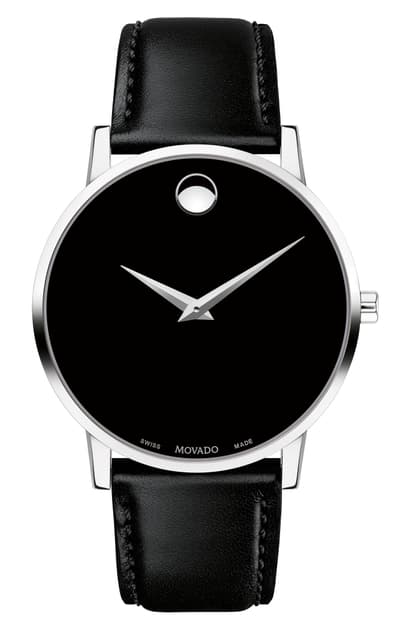 Movado Museum Classic Black Leather Strap Watch, 40mm In Black/ Silver