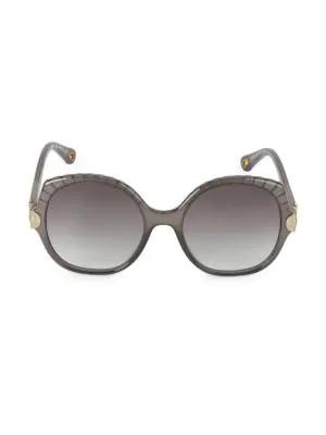 ChloÉ Vera Scalloped Round Plastic Sunglasses In Dark Gray