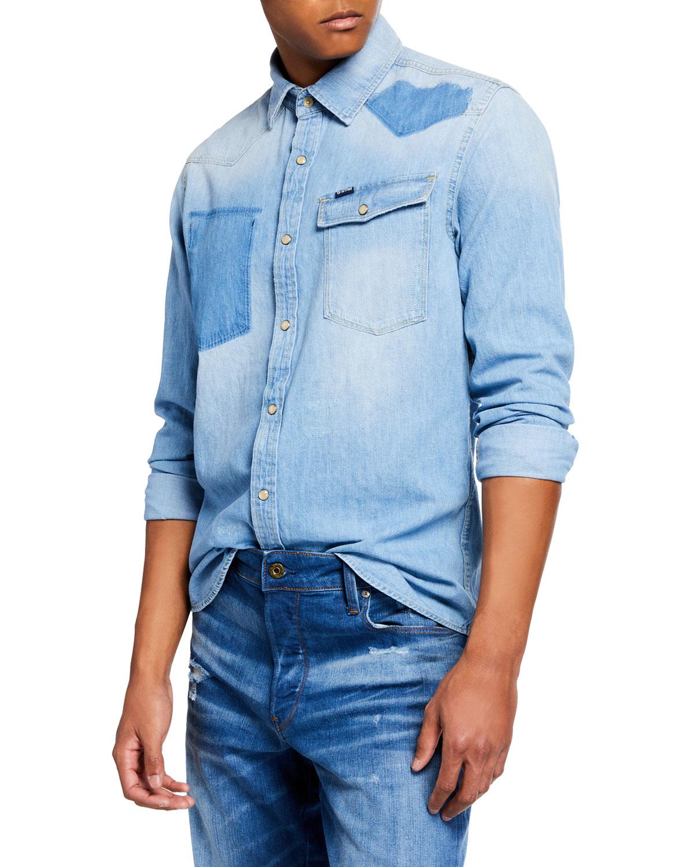 b82cb6319a G-Star Men s 3301 Light Vintage Aged Denim Shirt In Blue
