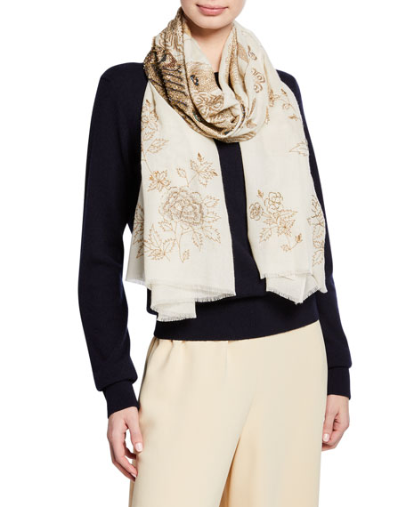 K Janavi Peacock Embroidered Cashmere Scarf In Ivory