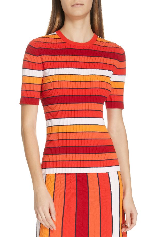 Tory Sport Tech Knit Striped Short-Sleeve Sweater In Pace