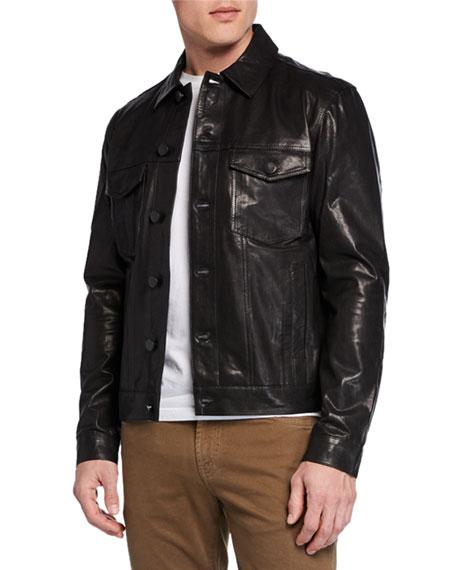 J Brand Men's Acamar Lamb Leather Jacket In Black