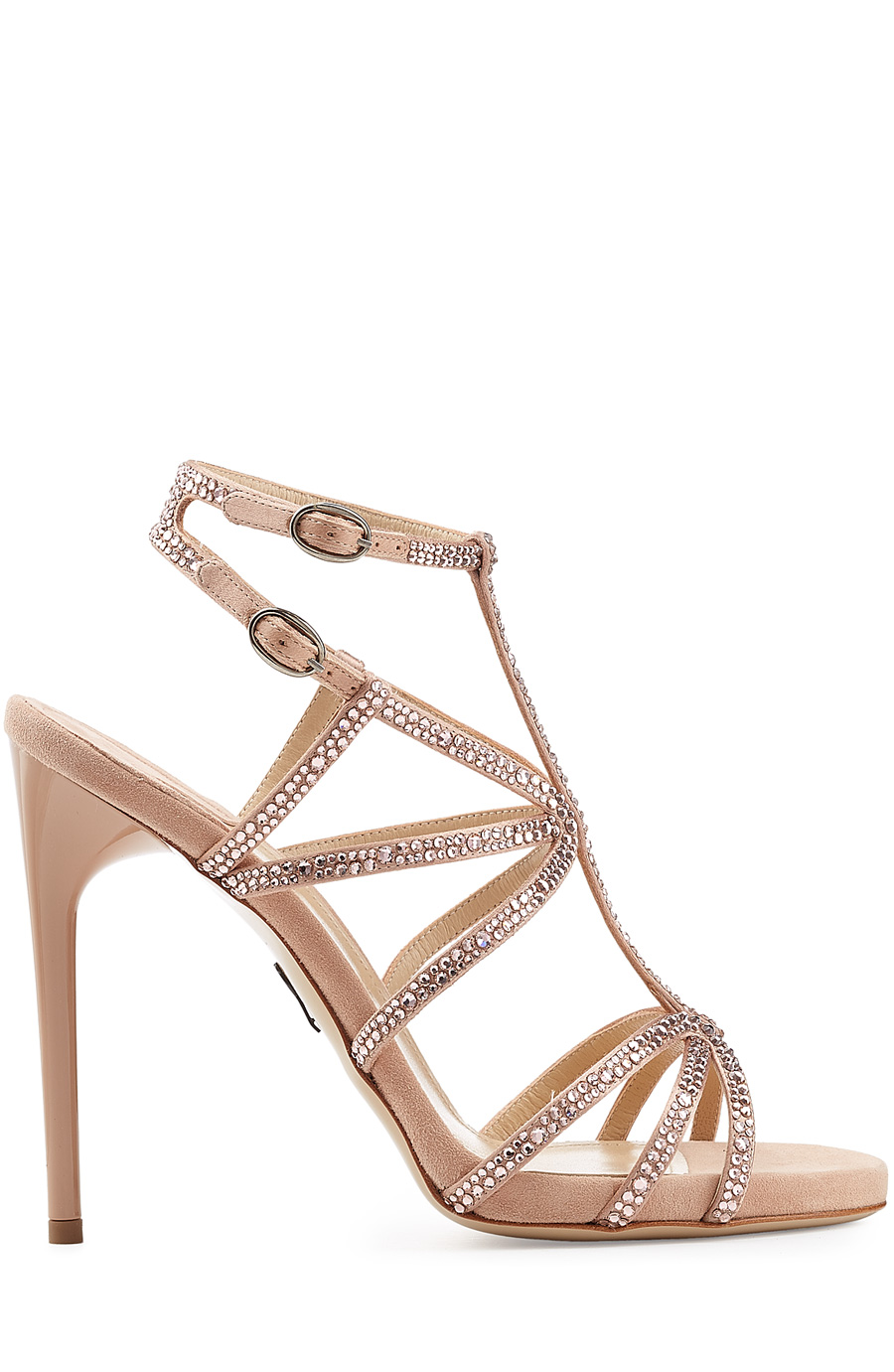 Paul Andrew Embellished Suede Sandals In Pink