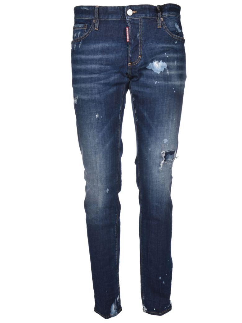 Dsquared2 Distressed Skinny Jeans In Blu Medio