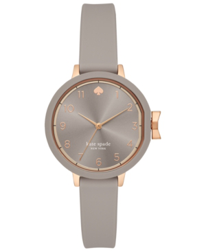 Kate Spade Park Row Silicone Strap Watch, 34mm In Grey