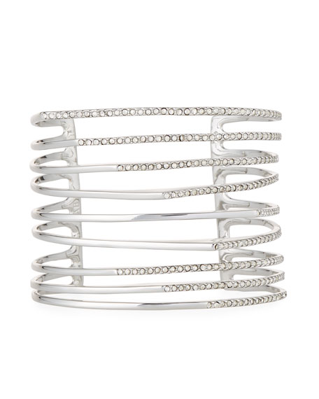 Alexis Bittar Multi-Row Silvertone Crystal Origami Cuff Bracelet