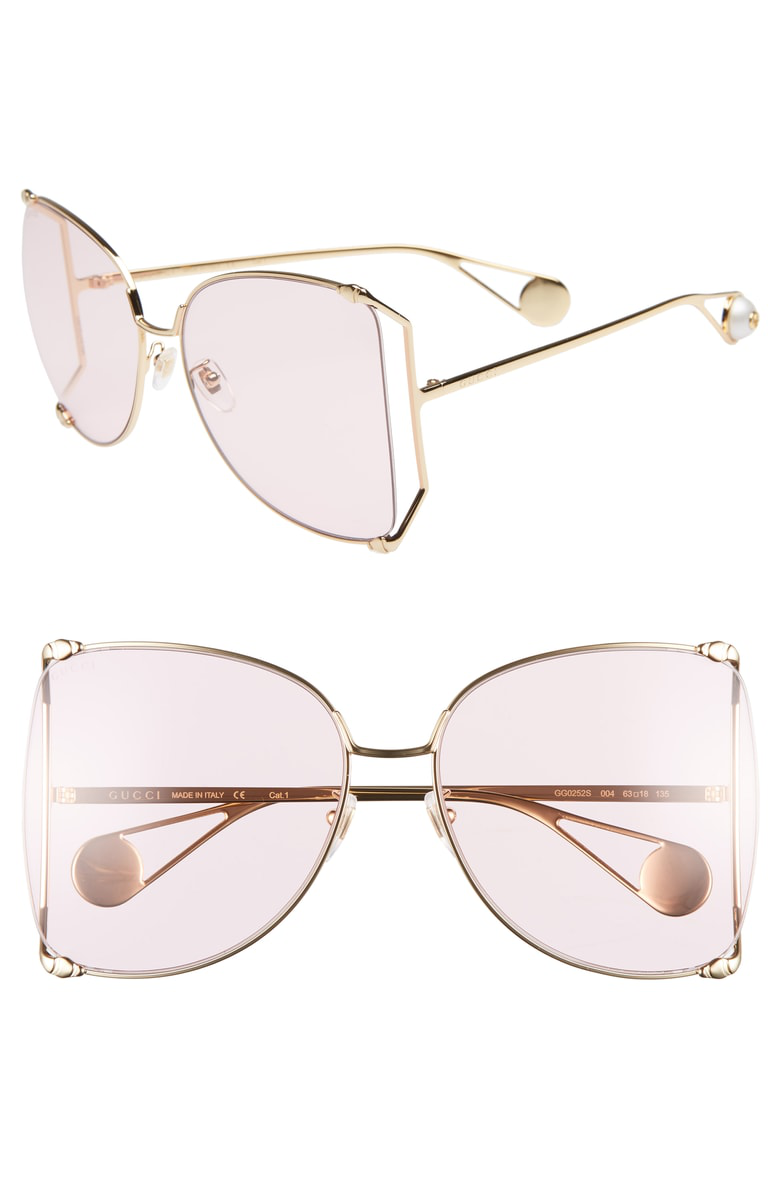 1c6f42c9a7 Gucci 63Mm Gradient Oversize Butterfly Sunglasses - Gold  Gradient ...