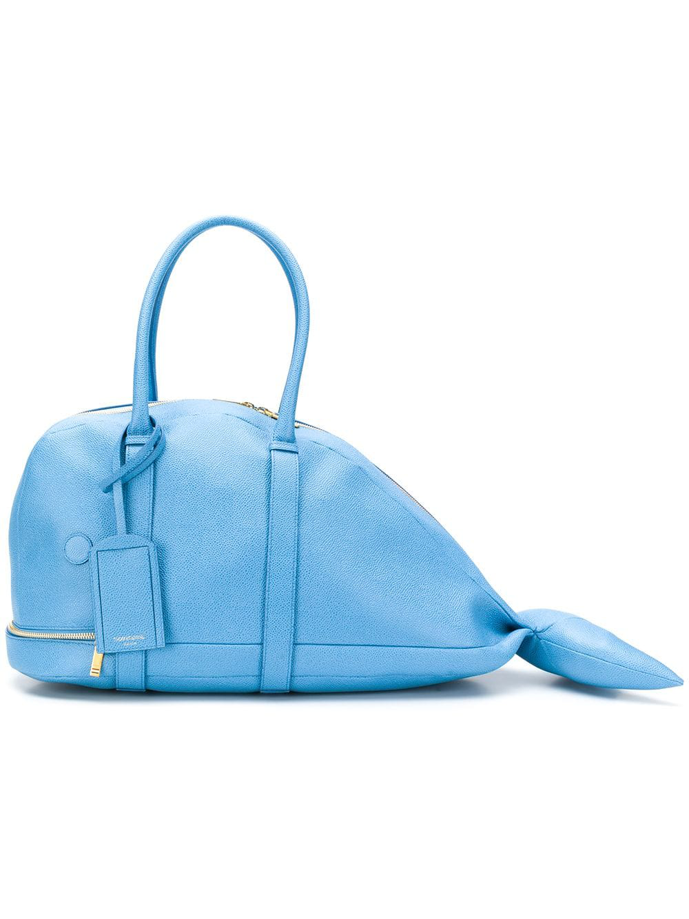 b8c7556de Thom Browne Pebbled Leather Whale Bag - Blue | ModeSens