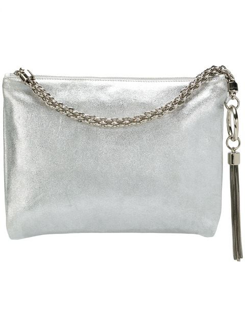 Jimmy Choo Callie Metallic Leather Convertible Clutch In Silver