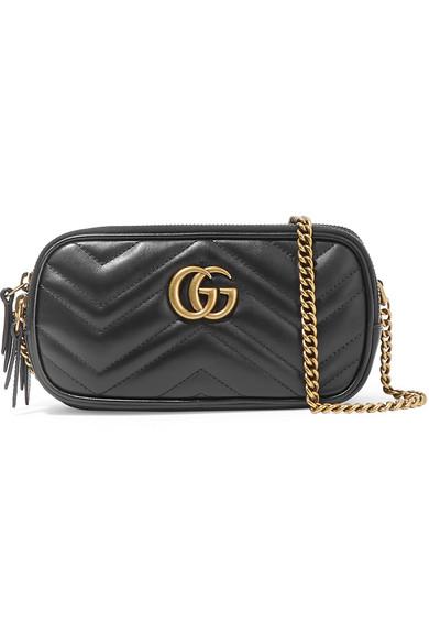 Gucci Gg Marmont Mini Zip-Top Camera Case Bag, Black In Black Leather