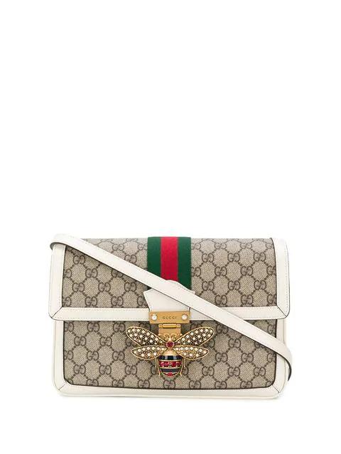 Gucci Queen Margaret Medium Leather-Trimmed Printed Coated-Canvas Shoulder Bag In 9753 B.Eb/M.W/Vrv/Ruby