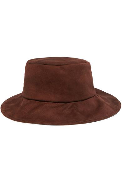 56b9200c3 + Helen Kaminski Isa Suede Bucket Hat in Brown