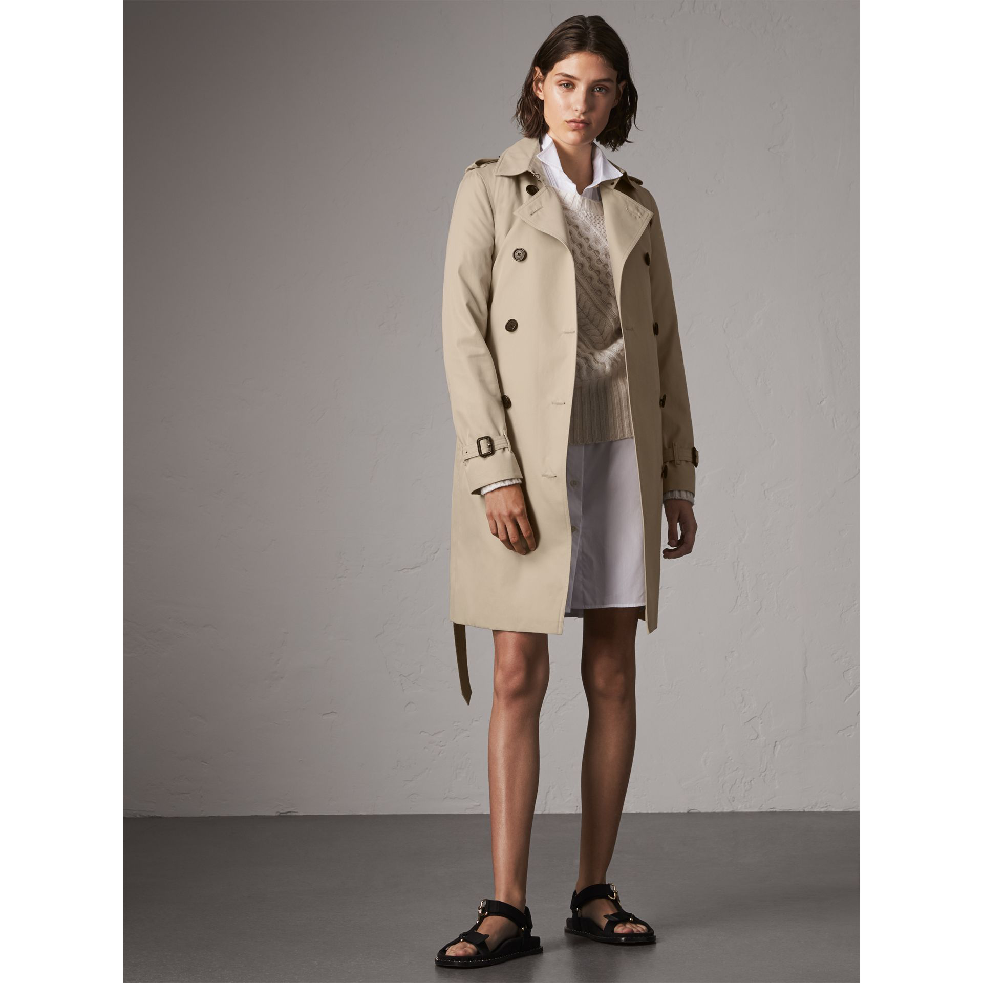 5c02462c2 The Kensington – Long Trench Coat in Stone