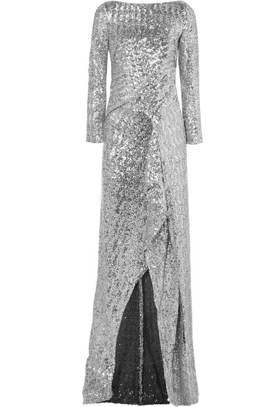 417ab996d1 Roland Mouret Sequined Tulle Gown In Silver