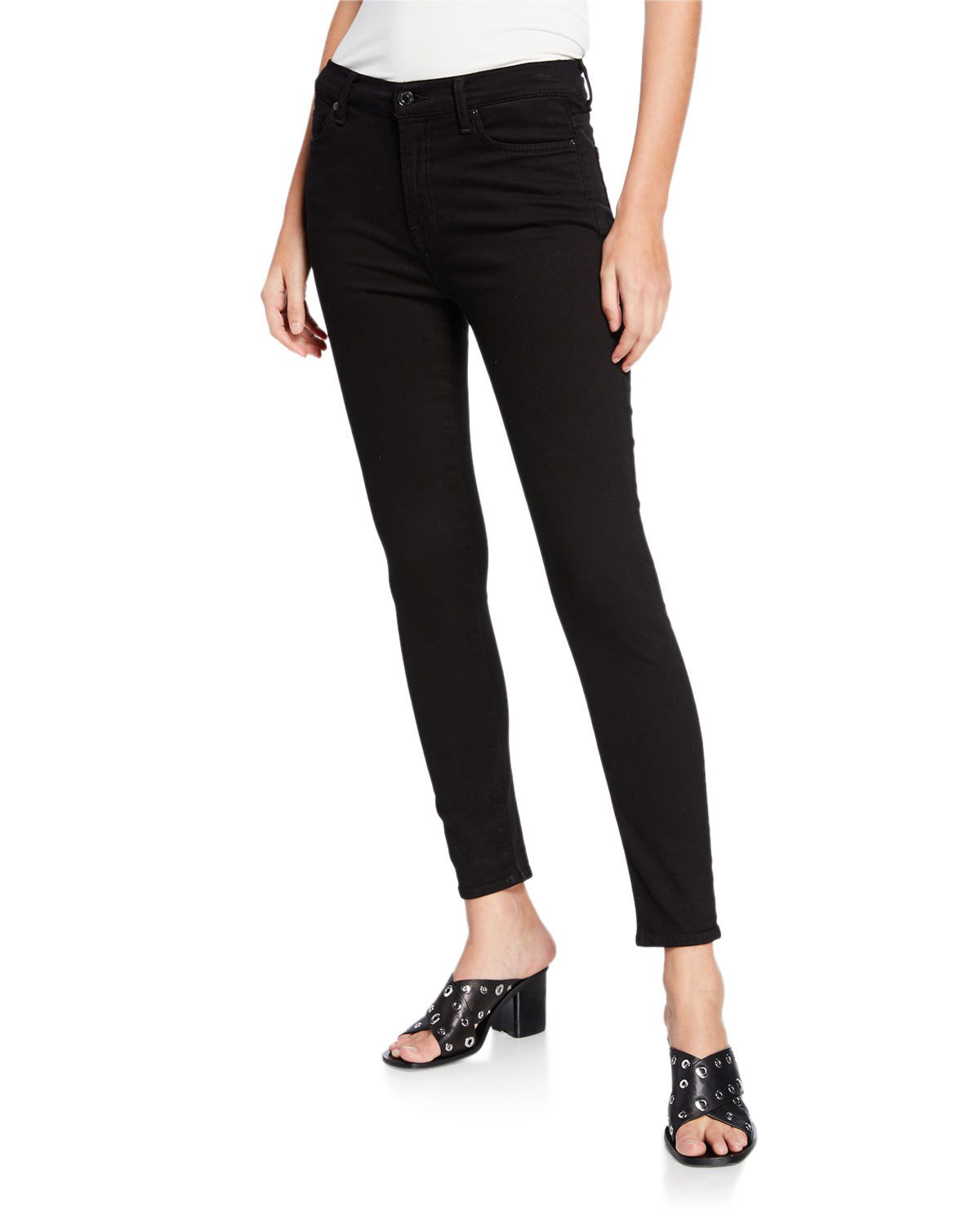 7 For All Mankind Gwenevere Squiggle Mid-Rise Skinny Jeans In Black