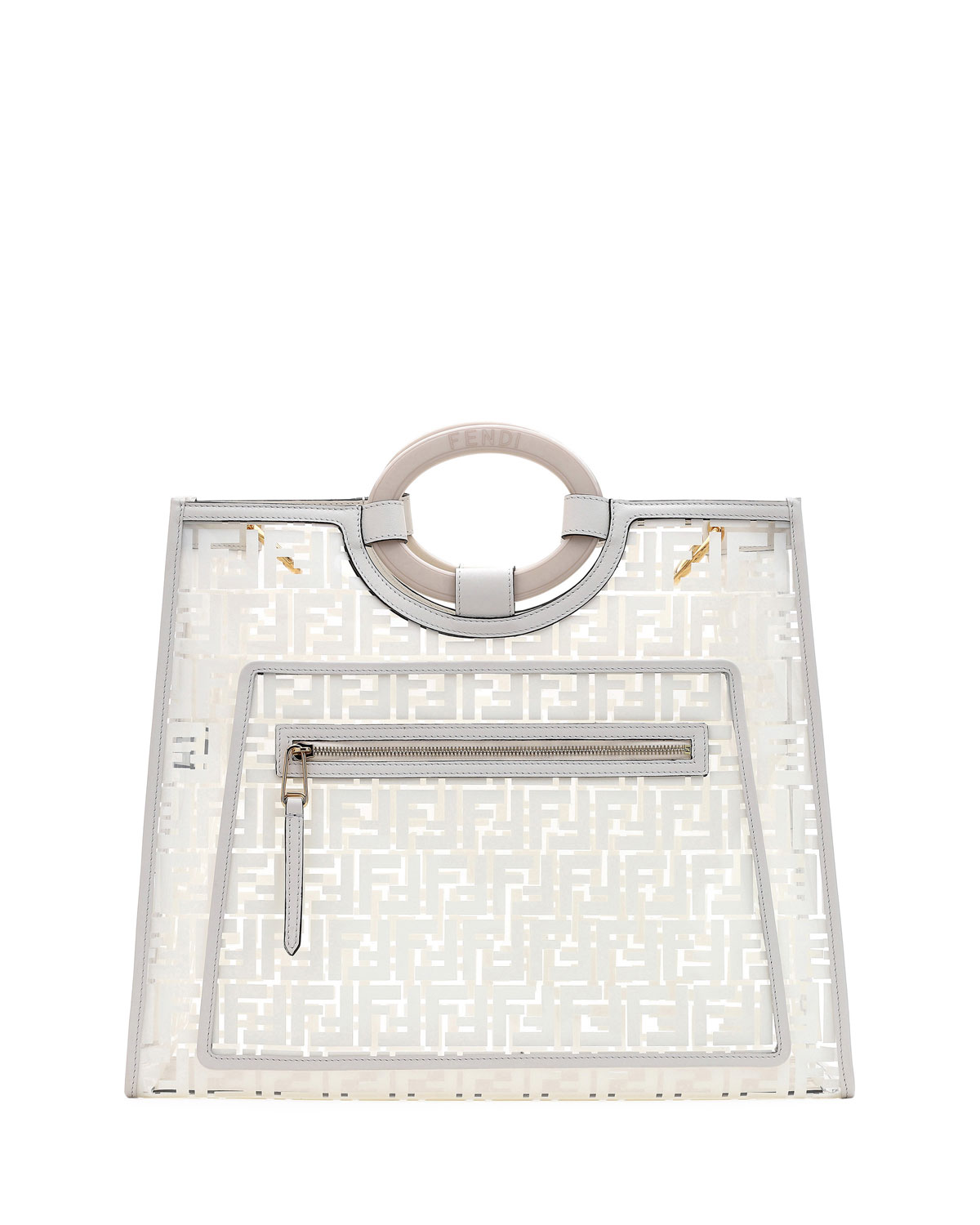 f5746cf90 Fendi Runaway Large Ff Pvc Shopper Tote Bag In White | ModeSens