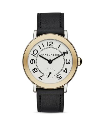 Marc Jacobs 'riley' Leather Strap Watch, 36mm In Gold/silver/white/black