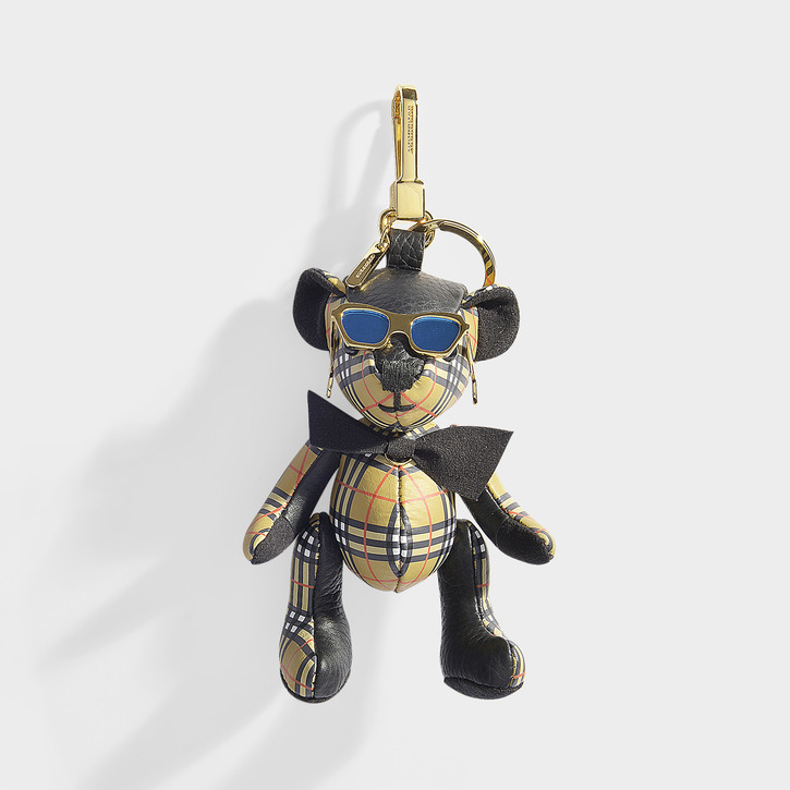 Burberry   Thomas Bear Mini Check Bag Charm In Black And Antique Yellow Cashmere