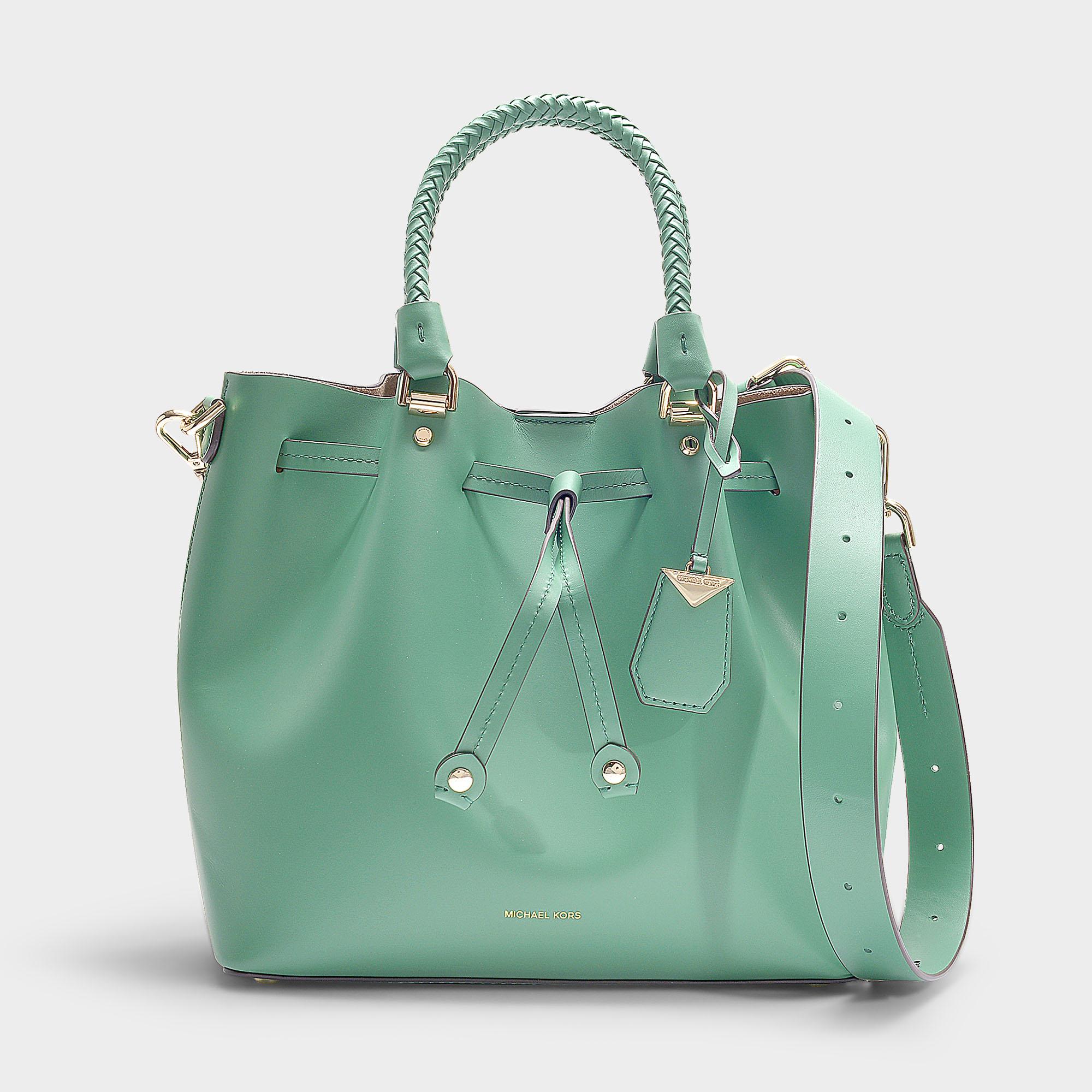 3687203df9e5 Michael Michael Kors | Blakely Medium Bucket Bag In Black Calfskin In Green
