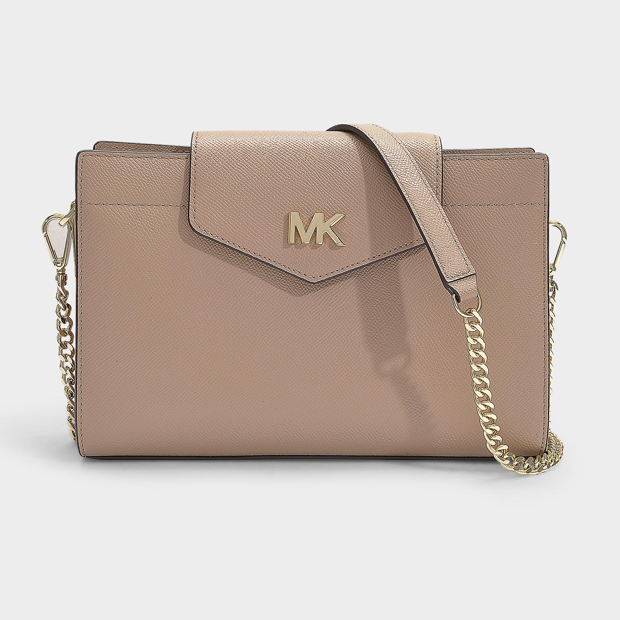 395ba8c75ffffc Michael Michael Kors | Crossbodies Large Convertible Crossbody Clutch Bag  In Black Grained Calfskin In Beige