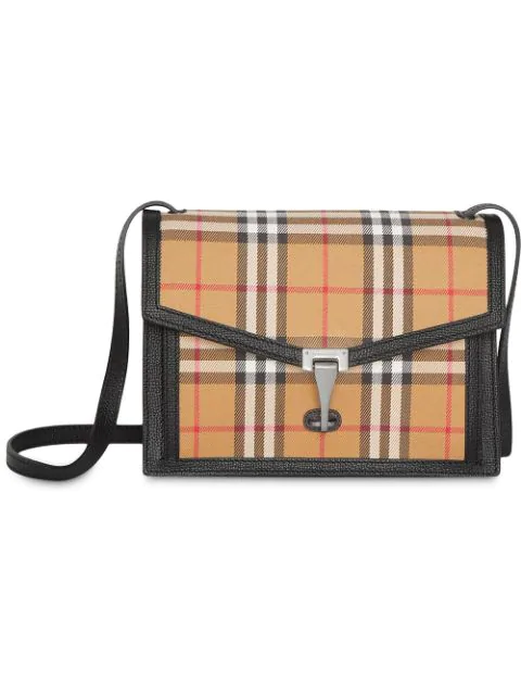 Burberry Small Vintage Check And Leather Crossbody Bag In Neutrals