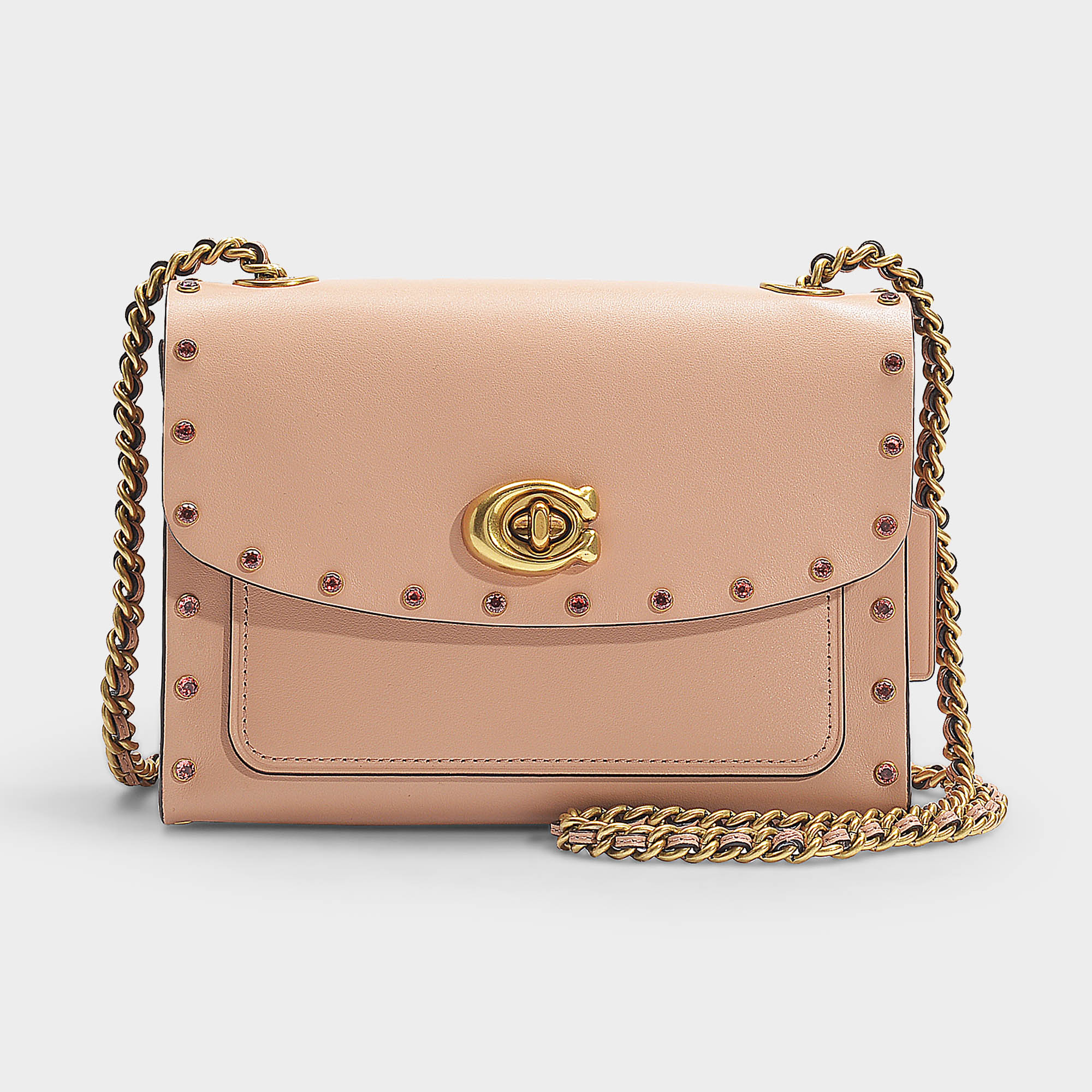 7736d7e03 Coach | Crystal Border Rivets Parker 18 Shoulder Bag In Pink Calfskin