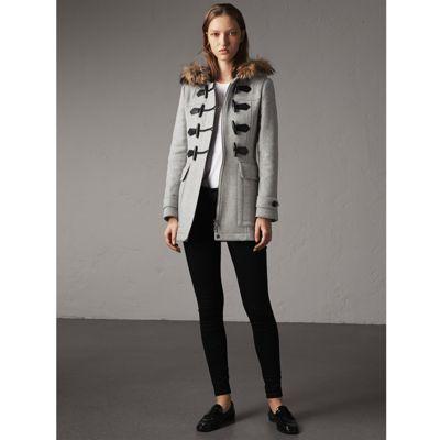 Burberry Wool Duffle Coat With Detachable Fur Trim In Light Grey Melange