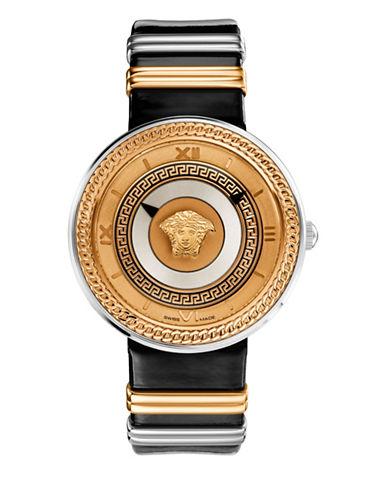 Versace V-metal Rose Gold & Black Dial Watch, 40mm